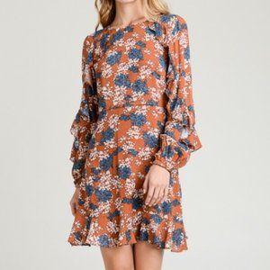 NWT Rust Floral Ruffle Dress LG by LeLis